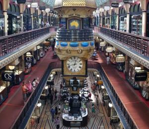 Grande Horloge Australienne dans la galerie marchande du Queen Victoria Building